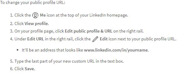 A screenshot describing how to edit your public profile URL on LinkedIn.