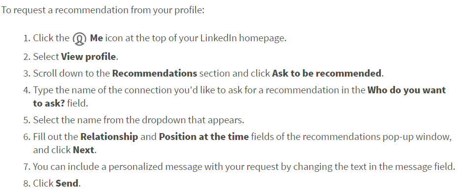 A screenshot describing how to request a recommendation from a connection on LinkedIn.