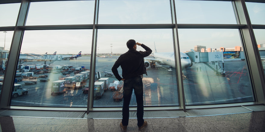 A newcomer to Canada inspects the airport on his way to the University of Windsor.