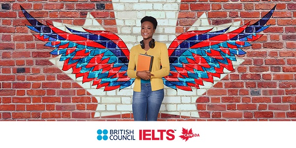 A smiling student stands before colourful graffiti of a maple leaf and angel wings, as though they grow from her back. Below, the British Council and IELTS logos.