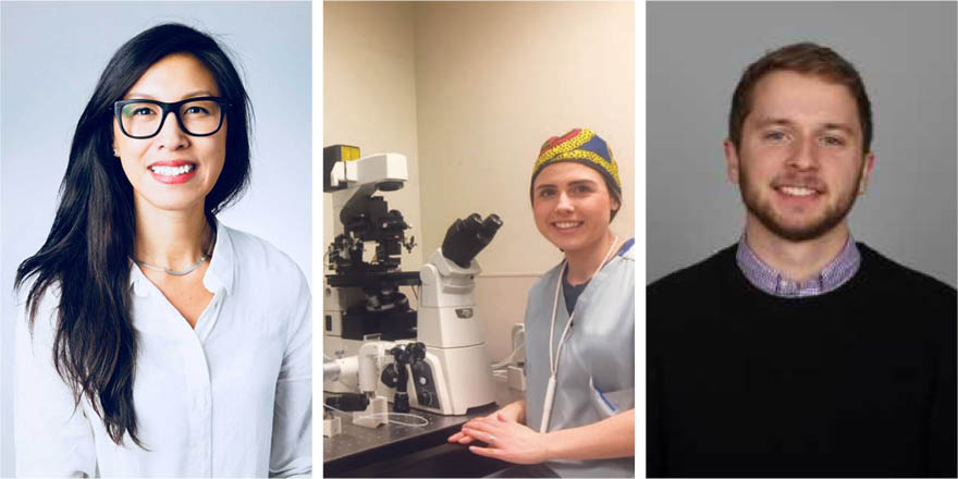 Three smiling University of Calgary alumni.