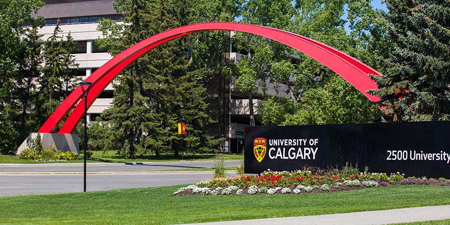 A colourful archway outside the University of Calgary.