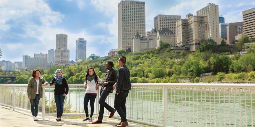 Students smiling in sunny Edmonton, Alberta.