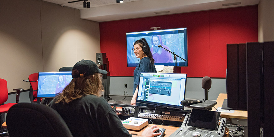 Students work within a state-of-the-art recording studio at Canadore College.