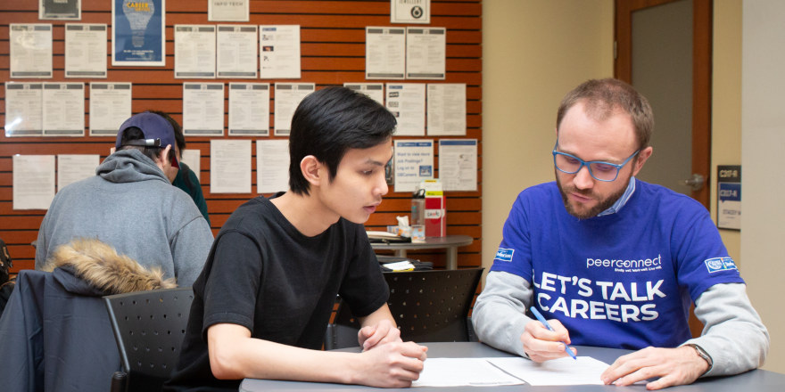 The George Brown College career centre helps a student find a part-time job.