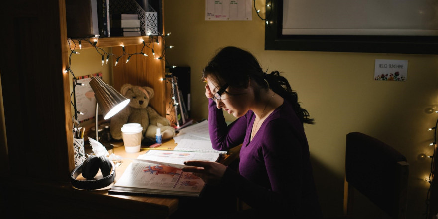 A student at Redeemer University College studies material in line with her established daily schedule.