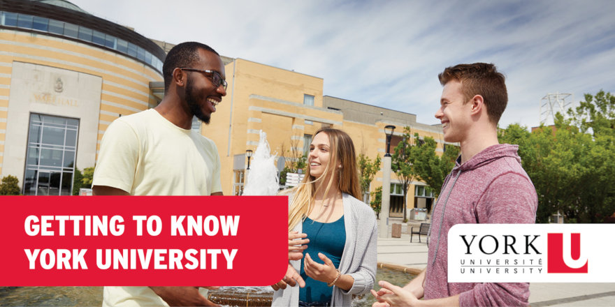 Students getting to know the sunny campus of York University.