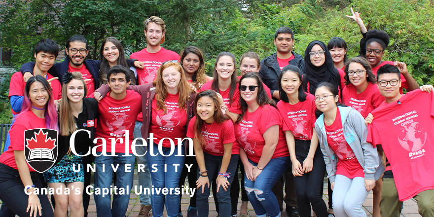 A big group of Carleton University students in red shirts get involved at their new school.
