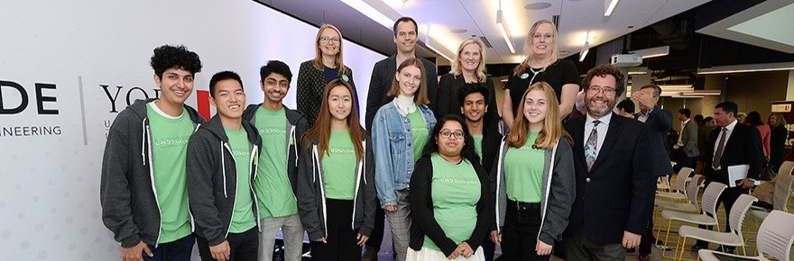 A group of co-op students and interns celebrate their Dev Degree with the Lassonde School of Engineering at York University.