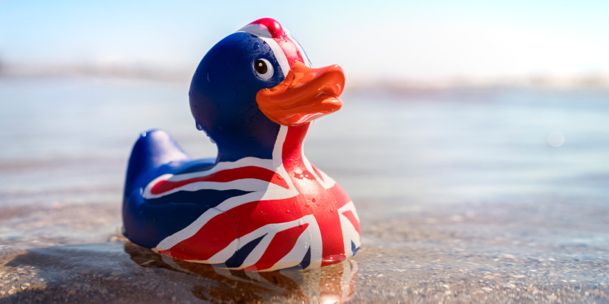 A happy rubber duck emblazoned with the Union Jack.