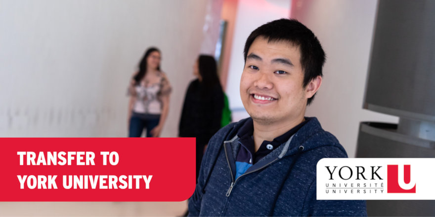 A student is happy that he transferred to York University — after all, there are lots of reasons to do so!
