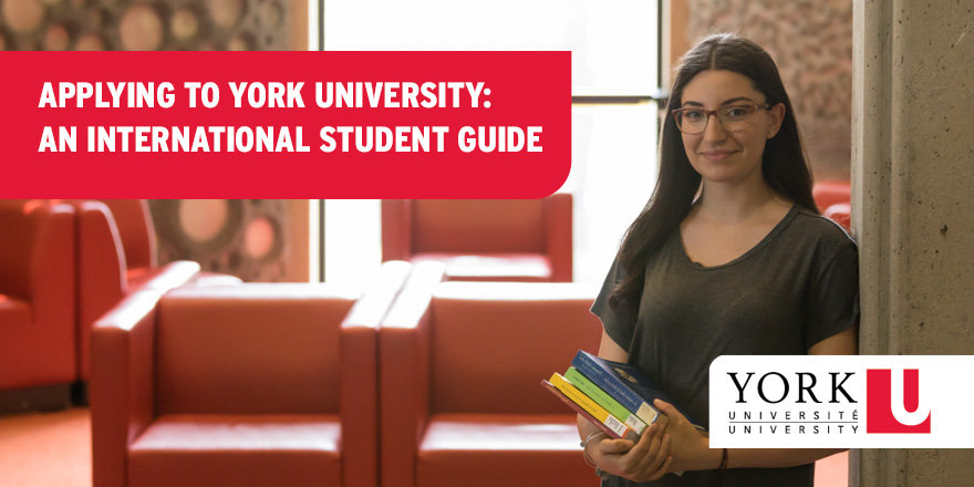 An international student holds books beside a branded label that reads 'Applying to York University: An International Student Guide.'
