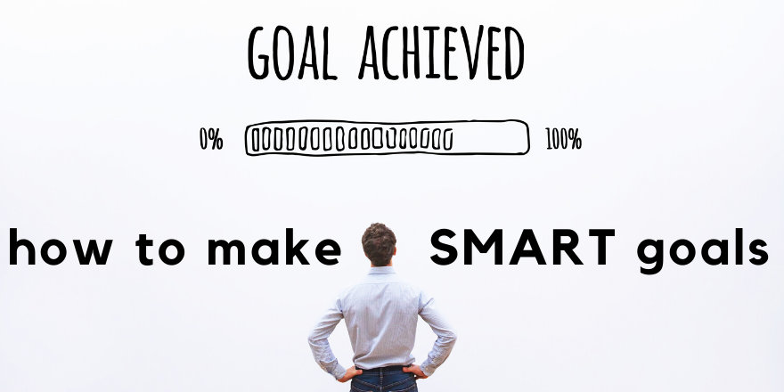 A graphic with a nearly-filled progress bar reading Goal Achieved, how to make SMART goals.