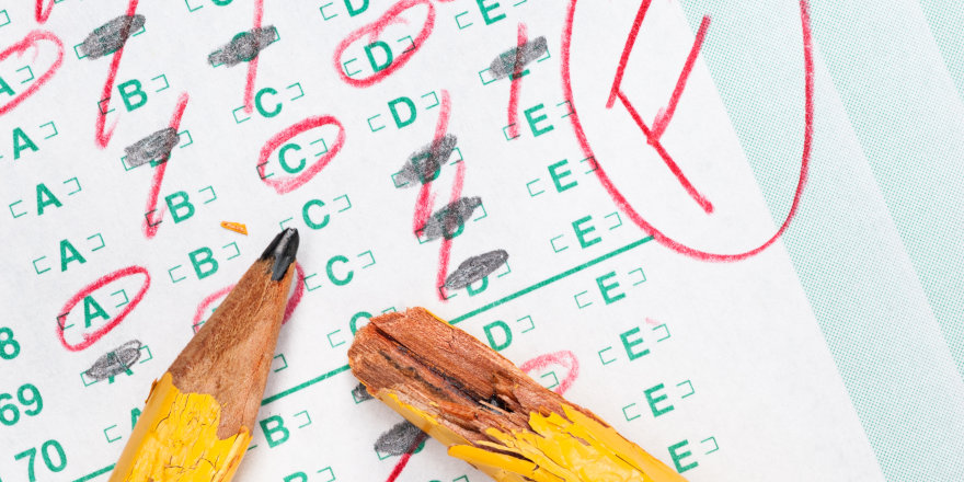 A broken pencil and a test, graded with an F. After failing like this, check out this 5 step guide to failing and getting back up again.