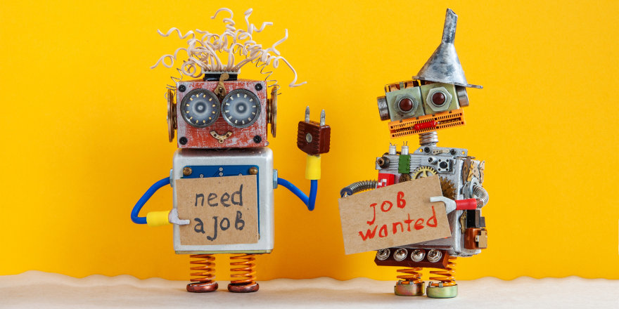 Two unemployed robots plead for help and advice in finding their first job out of high school.