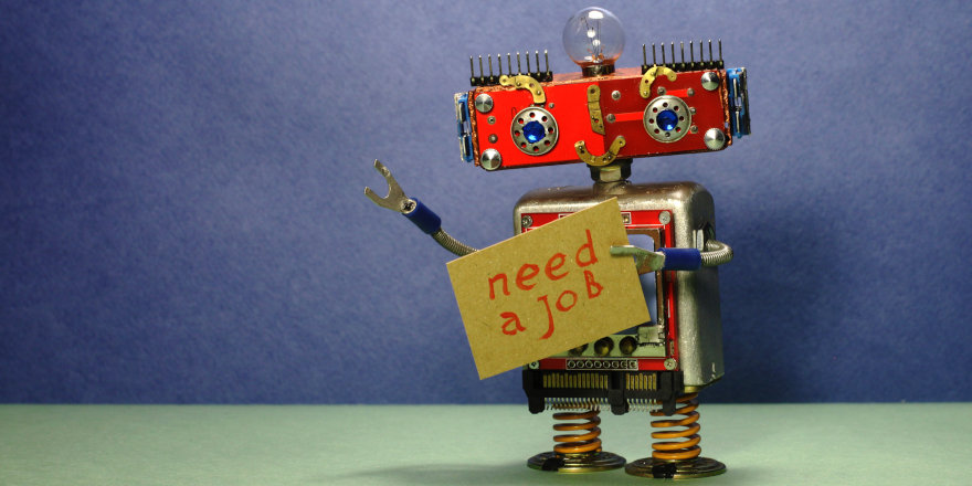 An unemployed robot pleads for help and advice in finding its first job out of high school.